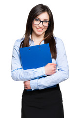 Friendly businesswoman holding a clipboard isolated