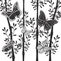 black and white graphics, five butterflies and four bamboo stems