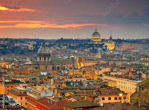 Aluminium Rome Wonderful view of Rome at sunset time with St Peter Cathedral