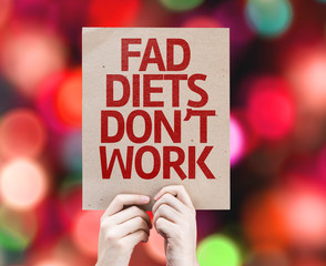 Fad Diets Don't Work card with bokeh background