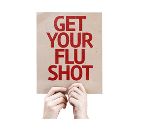 Get Your Flu Shot card isolated on white background