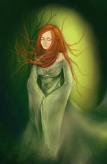 Ginger girl in a green dress