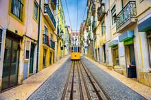 "Постер, картина, фотообои ""Lisbon, Portugal Old Town Cityscape and Tram"""