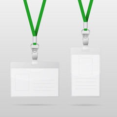 Vector templates for name tag with green lanyards