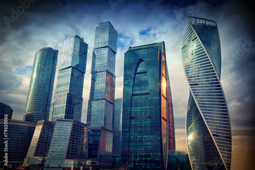 business center Moscow-City in the evening at sunset, Moscow - 79650886