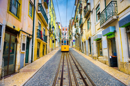 Juliste Lisbon, Portugal Old Town Cityscape and Tram
