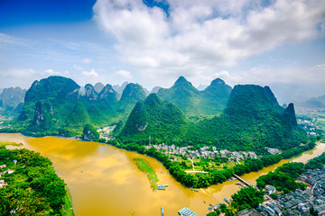 Li River and Karst Mountains Landscape in Guilin, China
