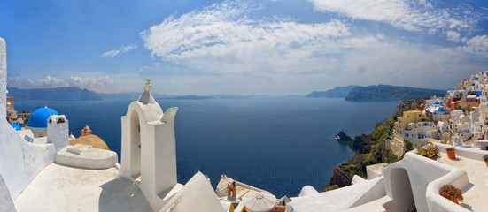 White and blue Santorini. Panoramic image.