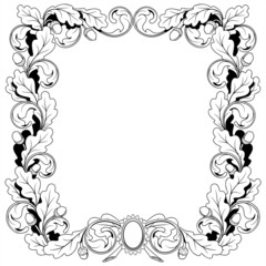 vintage frame ornament from oak branches with acorns, vector ill