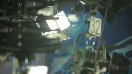 Live camera. In the newsroom studio , before live broadcast