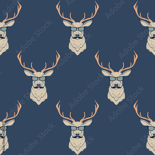 Materiał do szycia Vector seamless pattern with hipster deer wearing mustaches