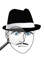 Zeichnung eines Detektivs/Spions mit Lupe