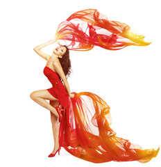Woman Dancing in Red Dress, Cloth Flying Waving on Wind Dance
