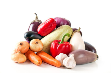 Assorted vegetables on white background