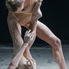dancer's body parts and flour