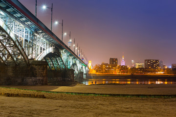 Architecture of Poniatowski bridge over Vistula river in Warsaw