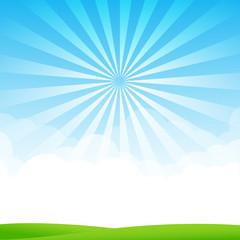 Nature Blue sky sunburst copy space and greenfiel Background 003