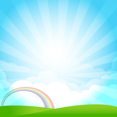 Nature Blue sky sunburst copy space and greenfiel Background 001