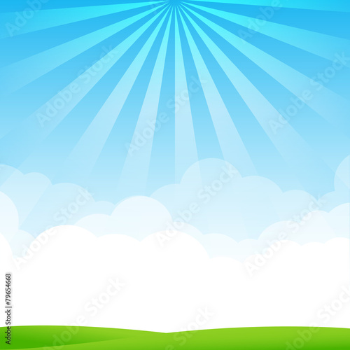 Fotobehang Blauw Nature Blue sky sunburst copy space and greenfiel Background 002