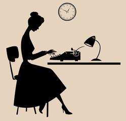 retro typist secretary