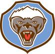 Honey Badger Mascot Head Shield Retro