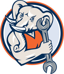 Elephant Mechanic Spanner Mascot Circle Retro