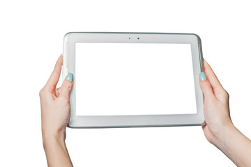 technology, online shopping, girl holding a tablet