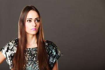 Fashion brunette woman in elegant dress