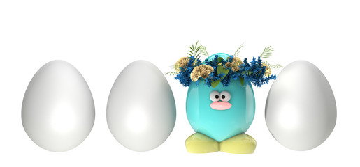 Easter eggs painted, with flowers, isolated on whie