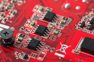 Red electronic plate