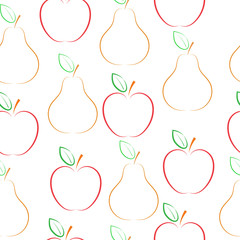 Pears and apples vector pattern, over white background.