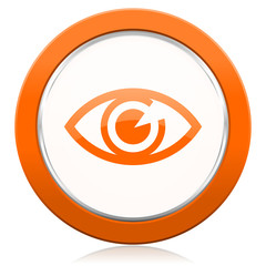eye orange icon view sign