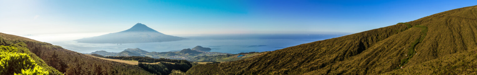 Long panorama of the beautiful landscape in the Azores.