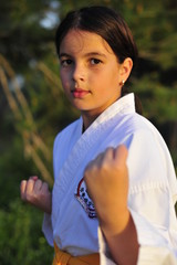 Portrait of young karate fighter