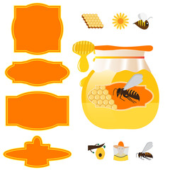 vector honey jar, labels and design elements