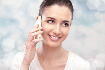 Cheerful woman with smart phone