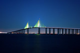 Sunshine Skyway Bridge at night poster