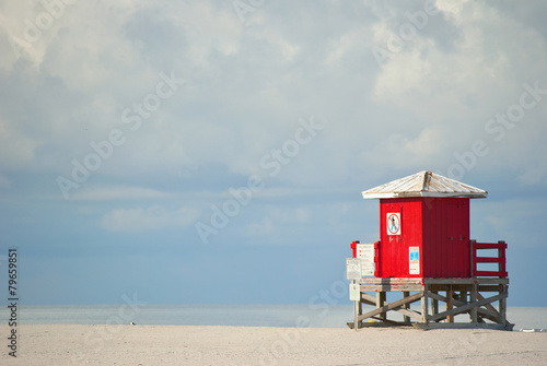 Red lifeguard beach shack - 79659851