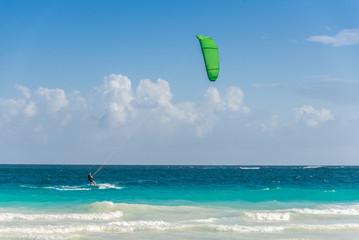 Kitesurf at Tulum, caribbean paradise. Traveling Mexico water sp