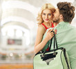 Optimistic couple spending leisure in a mall