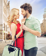 Portrait of a romantic young couple