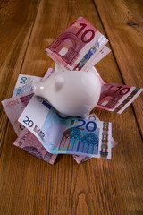piggy bank with euro and polish banknotes
