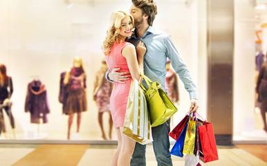 Couple enjoying leisure in the mall