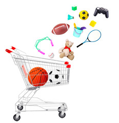Sport goods and toys falling into cart isolated on white