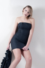 Indoor shoot of a model in a black dress