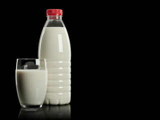 Milk in a plastic bottle and a glass