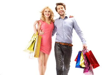 Cheerful couple on the shopping