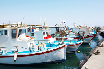 Yachts and fishing boats in Larnaca port, Cyprus.