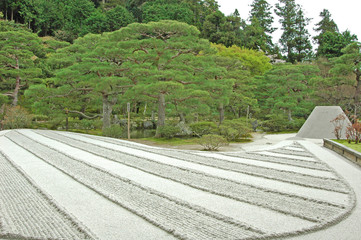 銀閣寺の銀沙灘風景