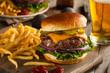 Leinwandbild Motiv Grass Fed Bison Hamburger